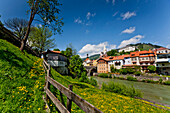 View over river Mur to old town, Murau, Styria, Austria