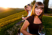 Young people drinking white wine, Gamlitz, Styria, Austria