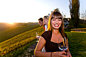 Young people drinking white wine, Gamlitz, Styria, Austria