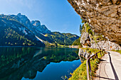 Mountain scenery at lake Gosausee, Salzkammergut, Upper Austria, Austria