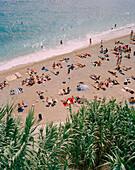 CROATIA, Dubrovnik, Dalmatian Coast, Island, elevated view of people relaxing on East West Beach in Dubrovnik.