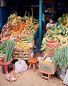 PERU, Amazon Rainforest, South America, Latin America, fruit and vegetables displayed at market stall in Puerto Maldonado
