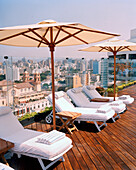PERU, Lima, South America, Latin America, the rooftop deck of the Miraflores Park Hotel in Lima.