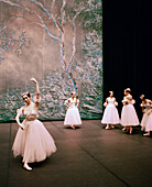 RUSSIA, Moscow, group of Bolshoi ballerinas warming up before a performance at the Bolshoi Theatre.
