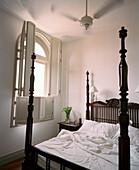 SRI LANKA, Asia, Galle, interior of a bedroom at Amangalla Hotel
