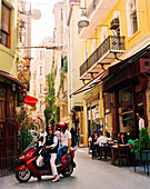 TURKEY, Istanbul, street scene of Beyoglu District with large group of people