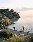 USA, Alaska, Resurrection Bay, people at water's edge, elevated view