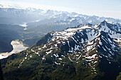 ALASKA, Homer, aerial view of Kachemak Bay State Park and Wilderness, Kenai mountains near Tutka Bay