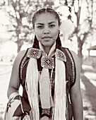 USA, Arizona, Holbrook, portrait of a Navajo princess (B&W)
