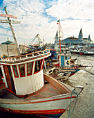 BRAZIL, Belem, South America, fishing boats moored, Ver-O-Peso market