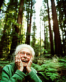 USA, California, happy senior woman with surprised facial expression
