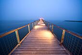USA, California, illuminated fishing dock at night, Nick's Cove, Tomales Bay