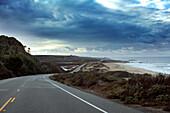 USA, California, driving HWY 1 South between San Francisco and Santa Cruz