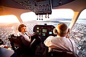 USA, California, San Francisco, flying over San Francisco towards the Golden Gate Bridge in the Airship Ventures Zepplin