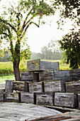 USA, California, Gundlach Bundschu Winery, weathered wine boxes stacked on the back of an old truck