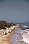 USA, California, Malibu, a view of the Malibu coast with Santa Monica in the distance