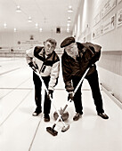 CANADA, senior men at Curling Club of Golden, portrait, Golden (B&W)