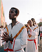 ERITREA, Asmara, Eritrean youth pay tribute to their freedom during the Independence Day Celebrations, Liberation Avenue