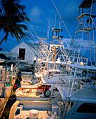USA, Florida, man standing on fishing boat at dusk, Bud N' Mary's Marina, Islamorada