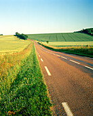 FRANCE, Burgundy, field and road against clear sky, Noyers