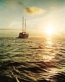 ECUADOR, Galapagos Islands, scenic view of ship sailing on the Pacific, Espanola Island