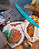 GREECE, Patmos, Grikos, Dodecanese Island, fishing nets and a fish by the waters edge in the port of Grikos