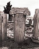 GREECE, Athens, detail of a column at the Acropolis (B&W)