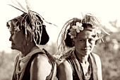 INDONESIA, Mentawai Islands, Kandui Resort, portrait of mature Mentawai women in traditional clothing (B&W)