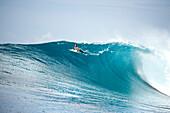 INDONESIA, Mentawai Islands, Kandui Resort, a man avoiding a wave, Bankvaults