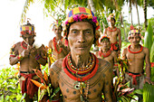 INDONESIA, Mentawai Islands, Kandui Resort, group of male healers from the Sakobou tribe