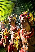 INDONESIA, Mentawai Islands, Kandui Resort, three tribal elders in traditional clothing