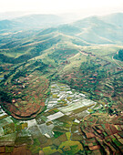 MADAGASCAR, aerial view of rice fields and countryside, Antananarivo