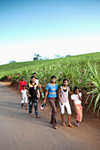 MAURITIUS, Chamarel, a family walks down the road after a visit to see Seven Coloured Earth, a geological formation that was the first tourist attraction in Mauritius