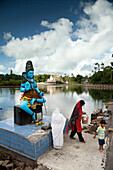 MAURITIUS, Ganga Talaoor or Grand Bassin is a sacred crater lake situated in the mountains in the district of Savanne, considered the most sacred Hindu place in Mauritius, people pray and make offerings at a shrine