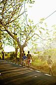 MAURITIUS, boys walk home alongside a main road in rural Mauritius before sundown
