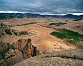 MONGOLIA, Gorkhi-Terelj National Park, vast landscape and ger camps with rock formations