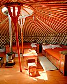 MONGOLIA, a room for hire in a Ger camp in Gurvansaikhan National Park, the Gobi Desert