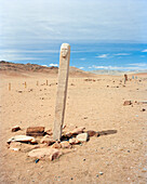 MONGOLIA, Khuvsgul National Park, deer stone standing on a barren landscape