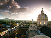 NICARAGUA, Granada, the Xalteva Church taken from the top of 'La Merced' tower in the center of town