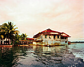 PANAMA, Bocas del Toro, homes by the water on Almirante Bay, Central America