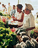 PANAMA, El Valle, people buy produce at an open air farmers market, Central America