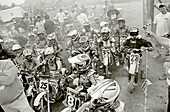USA, Tennessee, the starting line of a kids motorcross race (B&W)