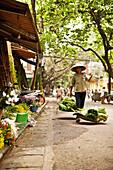 VIETNAM, Hanoi, a street scene of a woman walking down the street selling her produce