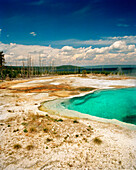 USA, Wyoming, scenic view of West Thumb Geyser Basin, Yellowstone National Park