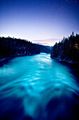 USA, Wyoming, Yellowstone River at night, Yellowstone National Park