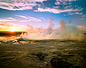 USA, Wyoming, Lower Geyser Basin at sunset, Yellowstone National Park