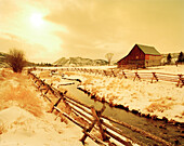 USA, Wyoming, Jackson Hole, a snow covered ranch on a cold winter day