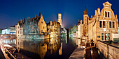 Panorama of the historic city of Bruges with canals and the view to the Rozenhoedkaai and the Belfry tower, Flanders, Belgium