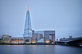 View of The Shard across the river Thames at night, skyscraper, City of London, England, United Kingdom, Europe, architect Renzo Piano, long time exposure