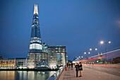 The Shard with bridge at night, skyscraper, City of London, England, United Kingdom, Europe